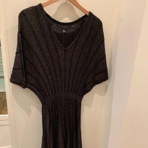 Black/Gold Draped Shoulder Dress SM
